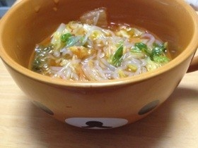 ダイエット!しらたきキムチスープ