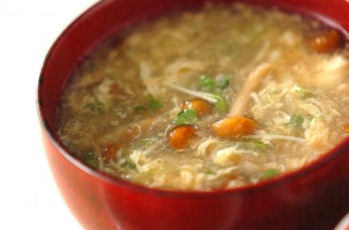 ナメコと卵のスープ