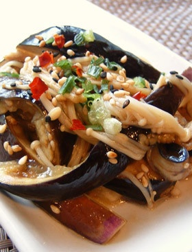 レンジで簡単!エノキとナスの中華風サラダ