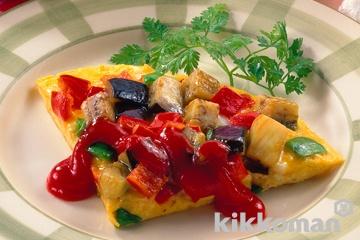 野菜たっぷりオムレツピザ