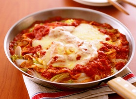 白菜と豚肉のトマト蒸し煮