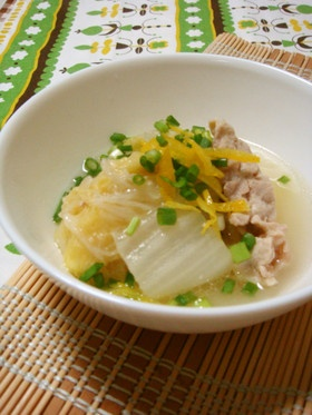 ほっこり柚子香る☆白菜と豚肉のスープ煮
