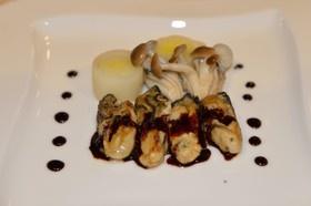 カキ(牡蠣)のソテー、バルサミコソースで