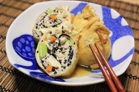 *豆腐と挽肉で油揚げの五目巾着煮*