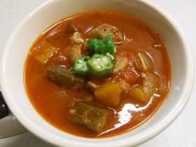 夏野菜☆オクラと鶏肉のガンボスープ