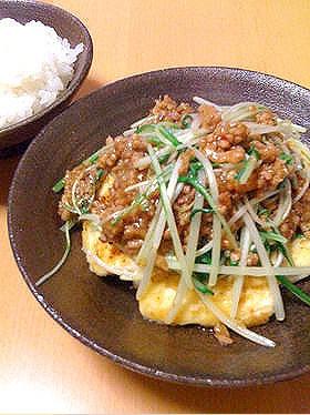 豆腐ステーキのひき肉あんかけ