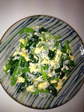 小松菜と炒り卵のしらすあえ