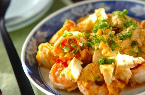 エビと豆腐のオイスターソース炒め