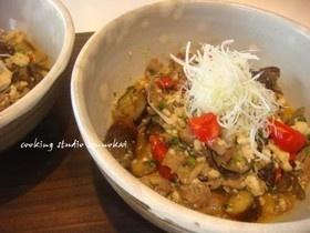簡単健康レシピ☆茄子と豚肉の味噌豆腐炒め