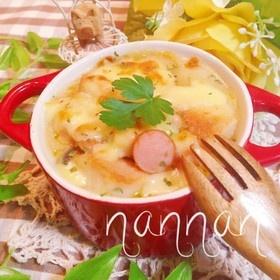 パン耳とカップスープで簡単グラタン☆