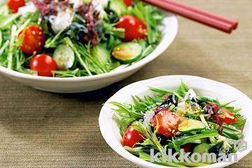 海草と水菜のサラダ