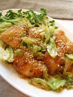 キャベツと鶏むね肉のオイスター炒め