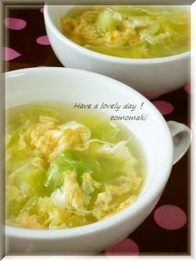 ウェイパーで✩春キャベツとたまごのスープ