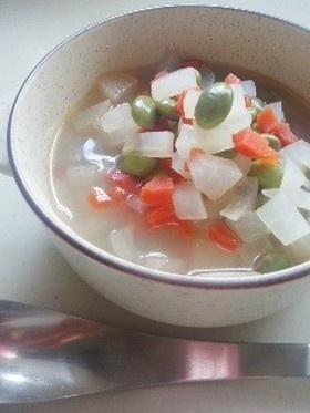 10分で簡単☆根菜と枝豆の優しいスープ