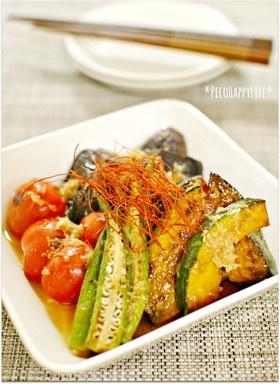 めんつゆとWおろしで簡単♪野菜の焼き浸し