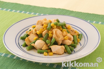 鶏肉とさやいんげんのピリ辛炒め