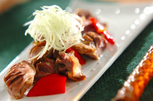 砂肝とピーマンの山椒炒め