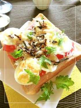 しらすとトマトと茹で卵の和トースト