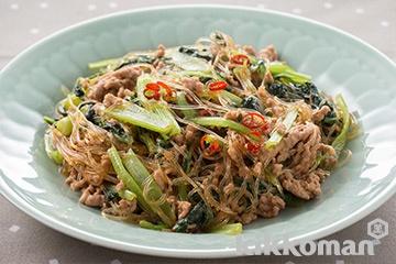 小松菜とひき肉の春雨炒め煮