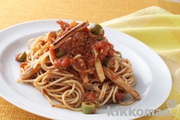 いかのトマト煮込みスパゲッティ