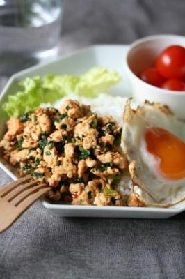 ☆小松菜とひき肉のカフェ風ワンプレート☆