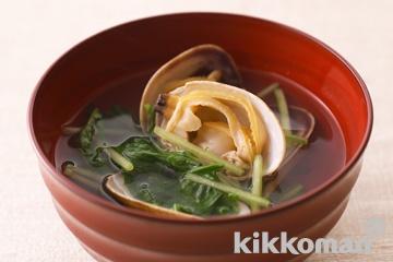 水菜とあさりのはりはり汁