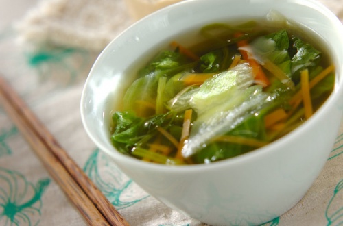 レタスとセリのスープ