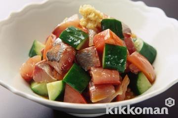 あじとトマトの刺身サラダ