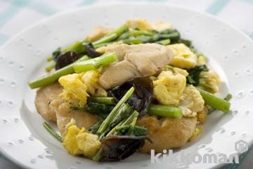 空心菜と鶏ささ身の卵炒め