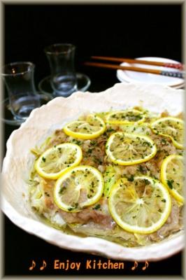 レモン風味♪豚肉&白菜&もやしのレンジ蒸