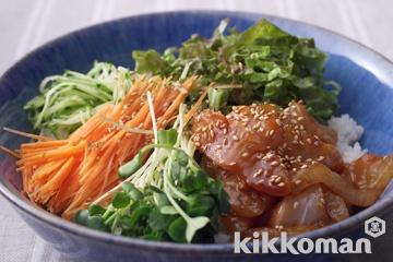お刺し身と生野菜のピビンパ
