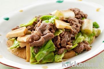 牛肉とたけのこ、キャベツの炒め物