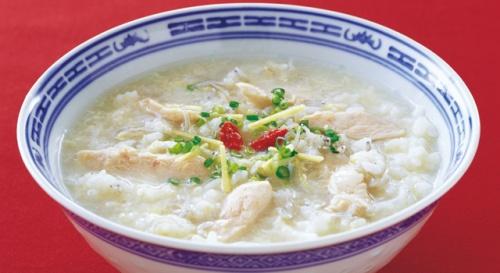 鶏ささ身と卵の中華粥