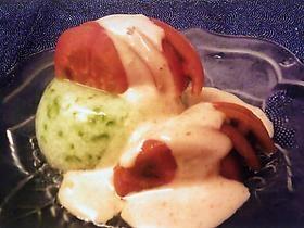 オクラ豆腐とフルーツトマトの明太子ドレッシング