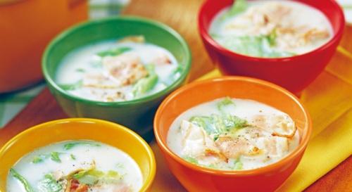 ベーコンとレタスの豆乳スープ
