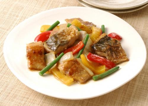 鯵(あじ)と夏野菜のポン酢炒め