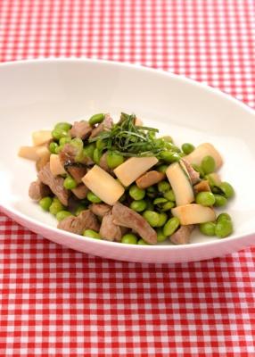 枝豆と豚肉のガーリック炒め