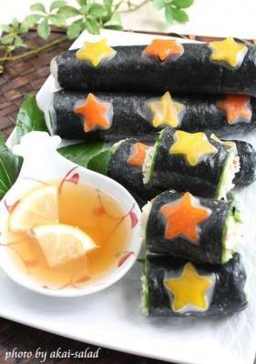 七夕に☆素麺サラダ生春巻き