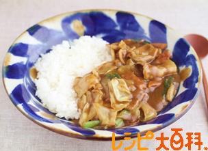 豚肉とキャベツの炒めカレー(カット野菜使用)