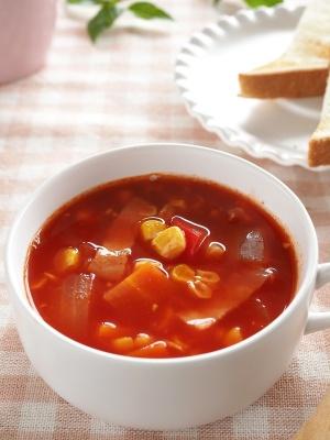 コーンたっぷりトマトが濃いスープ♪