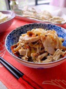 どっさりキノコと鶏胸肉の中華風南蛮和え☆