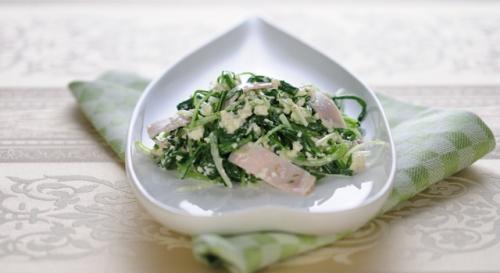 水菜とハムの簡単白和え