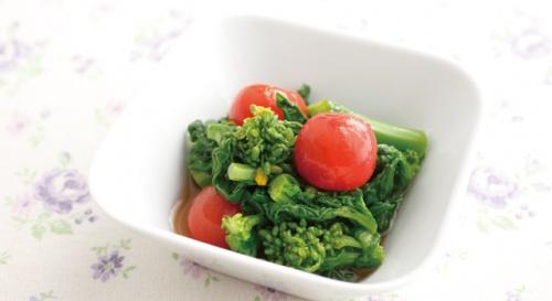 菜の花とミニトマトのお浸し