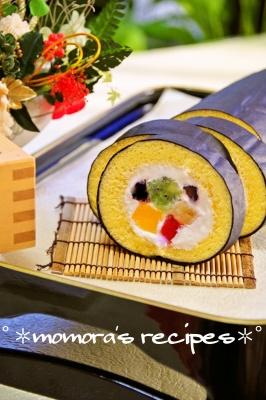 HMで簡単♡節分に恵方巻きロールケーキ レシピ・作り方