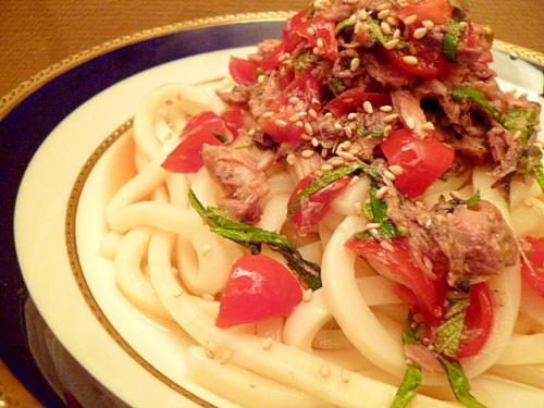サバ缶とトマトの冷やしうどん レシピ・作り方