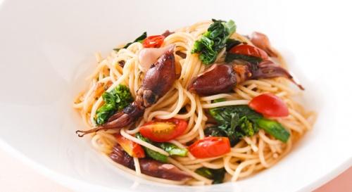 ほたるいかと菜の花のスパゲッティ