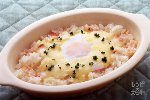 チーズと卵の即席リゾット