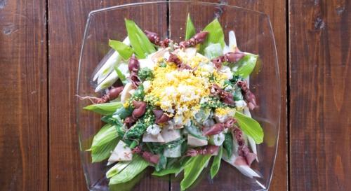 京たけのことほたるいかの春野菜サラダ