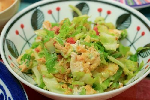 春キャベツと卵の明太子炒め レシピ・作り方