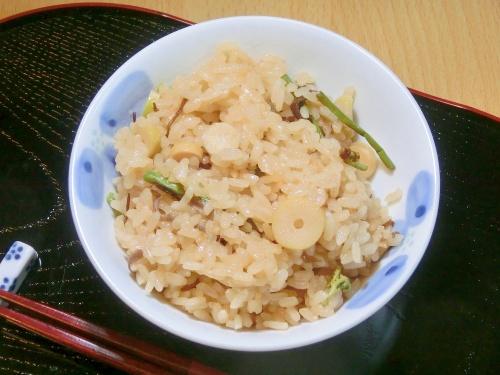 炊飯器で簡単。山菜おこわ レシピ・作り方